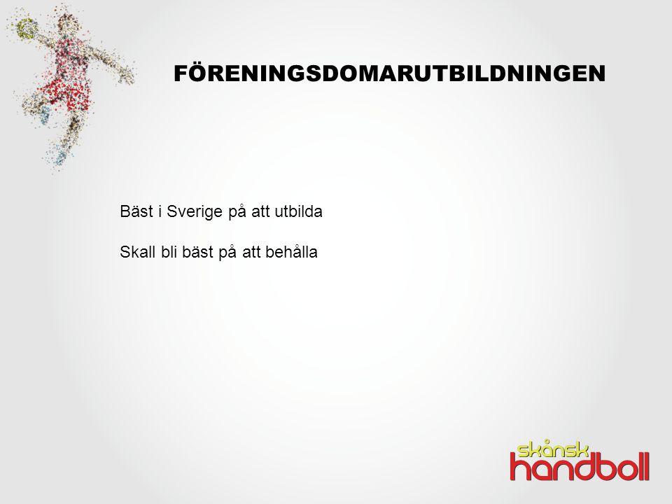 FÖRENINGSDOMARUTBILDNINGEN Bäst i Sverige på att utbilda Skall bli bäst på att behålla