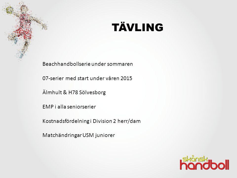 TÄVLING Beachhandbollserie under sommaren 07-serier med start under våren 2015 Älmhult & H78 Sölvesborg EMP i alla seniorserier Kostnadsfördelning i Division 2 herr/dam Matchändringar USM juniorer