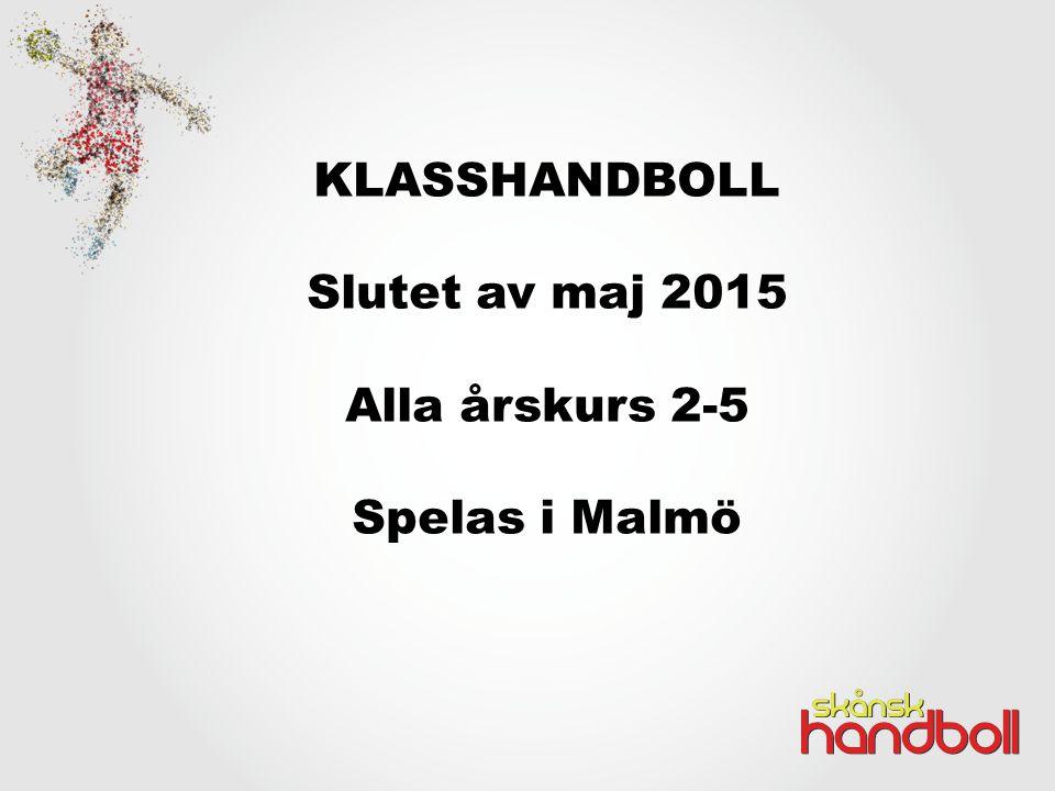KLASSHANDBOLL Slutet av maj 2015 Alla årskurs 2-5 Spelas i Malmö