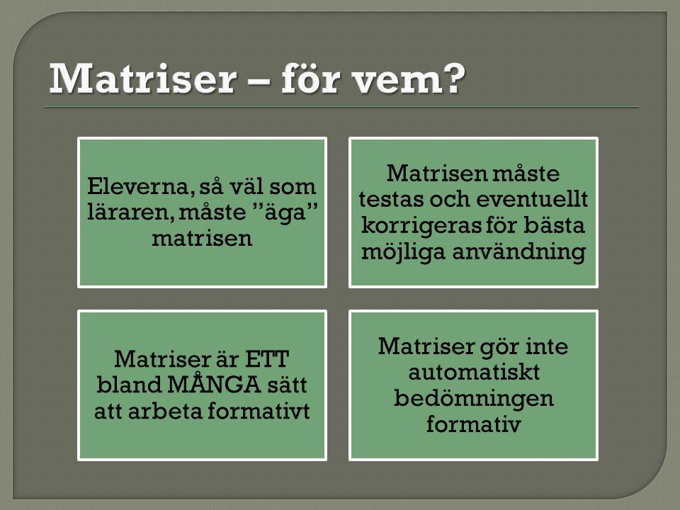 Eleverna, så väl som läraren, måste äga matrisen Matrisen måste testas och eventuellt korrigeras för bästa möjliga användning Matriser är ETT bland MÅNGA sätt att arbeta formativt Matriser gör inte automatiskt bedömningen formativ