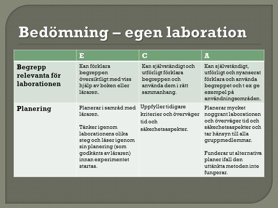 ECA Begrepp relevanta för laborationen Kan förklara begreppen översiktligt med viss hjälp av boken eller läraren. Kan självständigt och utförligt förk