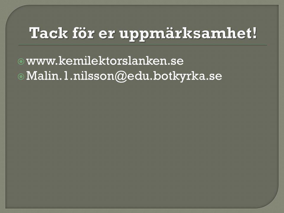 www.kemilektorslanken.se  Malin.1.nilsson@edu.botkyrka.se