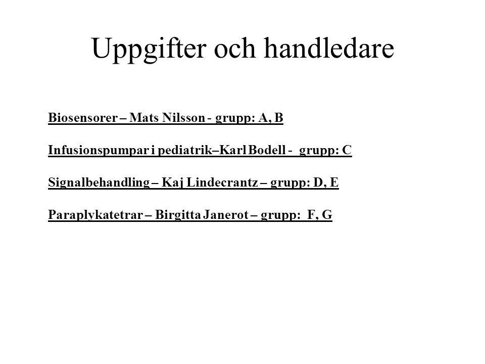 Uppgifter och handledare Biosensorer – Mats Nilsson - grupp: A, B Infusionspumpar i pediatrik–Karl Bodell - grupp: C Signalbehandling – Kaj Lindecrantz – grupp: D, E Paraplykatetrar – Birgitta Janerot – grupp: F, G