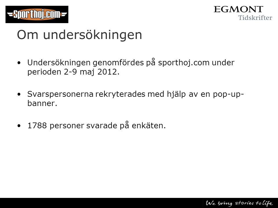 Om undersökningen •Undersökningen genomfördes på sporthoj.com under perioden 2-9 maj 2012. •Svarspersonerna rekryterades med hjälp av en pop-up- banne