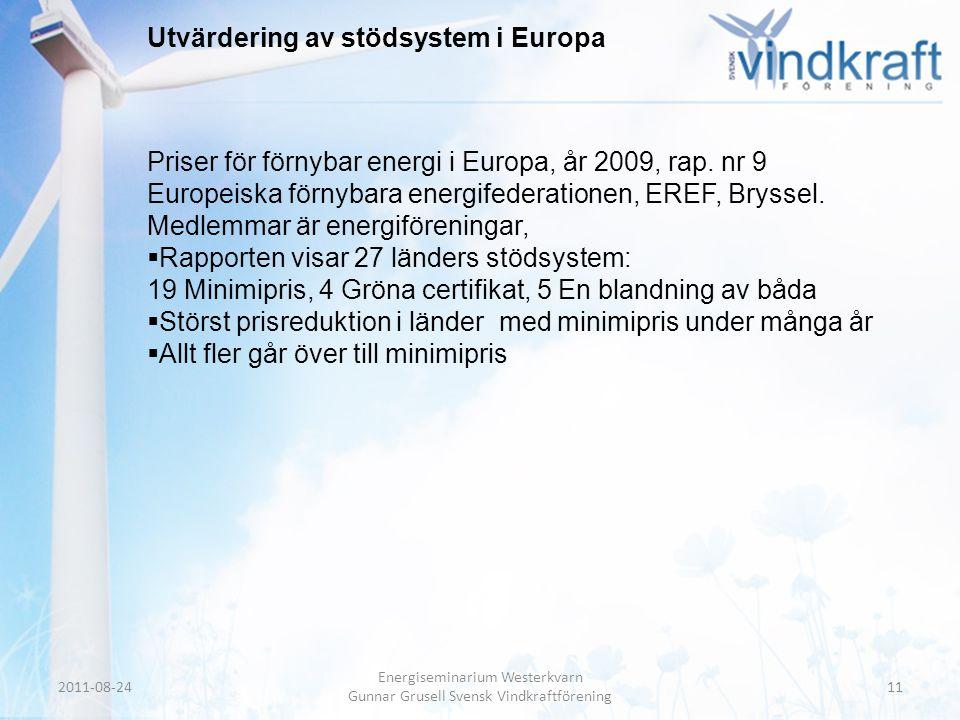 Header • Body Text Utvärdering av stödsystem i Europa Priser för förnybar energi i Europa, år 2009, rap. nr 9 Europeiska förnybara energifederationen,