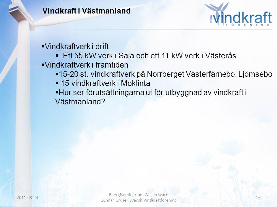 Header • Body Text Vindkraft i Västmanland  Vindkraftverk i drift  Ett 55 kW verk i Sala och ett 11 kW verk i Västerås  Vindkraftverk i framtiden 