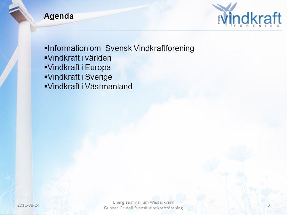 Header • Body Text Agenda  Information om Svensk Vindkraftförening  Vindkraft i världen  Vindkraft i Europa  Vindkraft i Sverige  Vindkraft i Väs