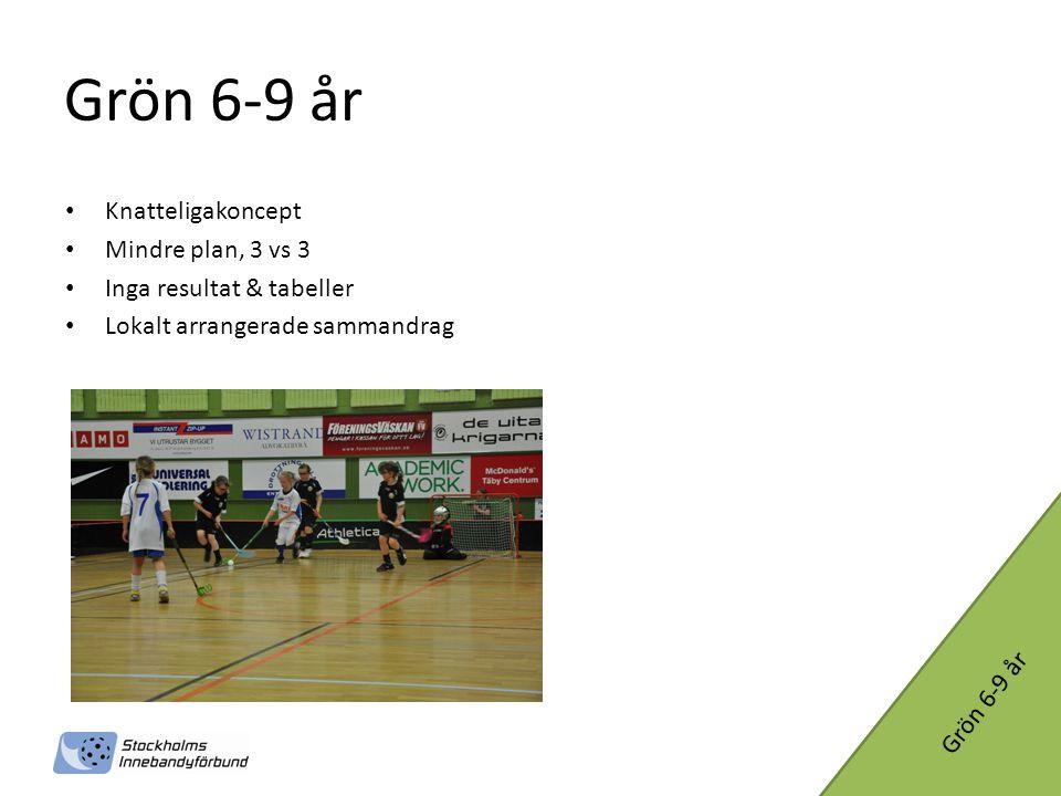 Grön 6-9 år • Knatteligakoncept • Mindre plan, 3 vs 3 • Inga resultat & tabeller • Lokalt arrangerade sammandrag Grön 6-9 år