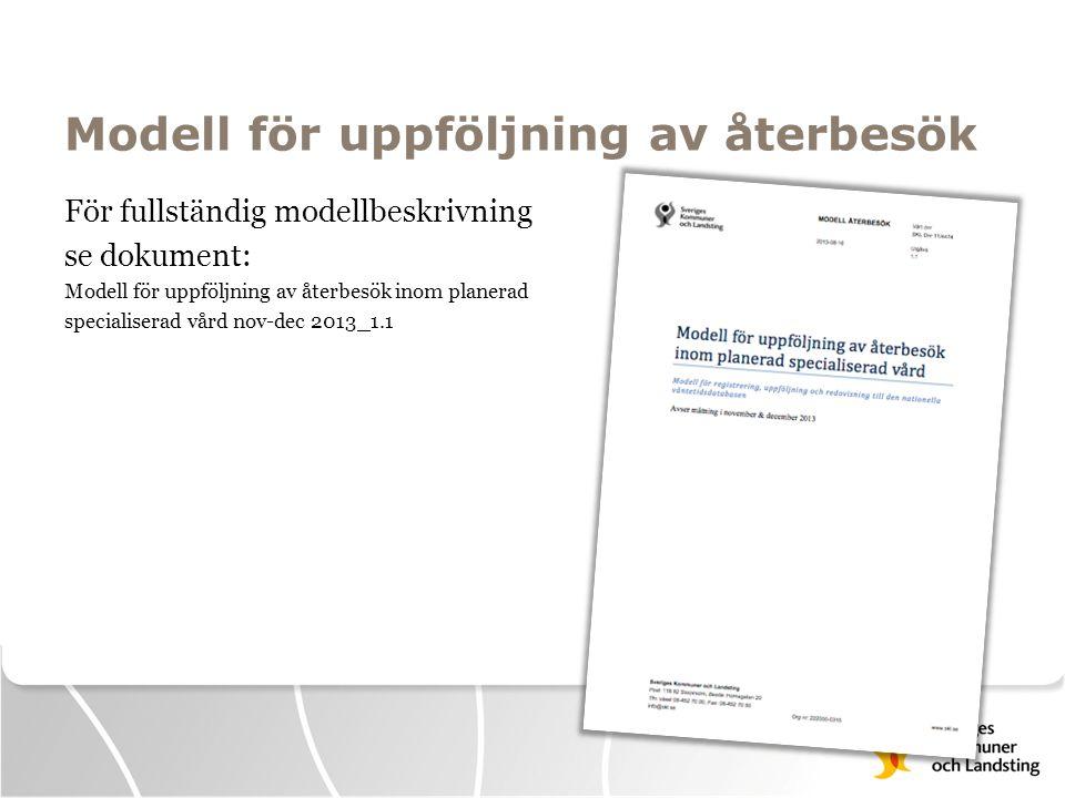 För fullständig modellbeskrivning se dokument: Modell för uppföljning av återbesök inom planerad specialiserad vård nov-dec 2013_1.1 Modell för uppföl
