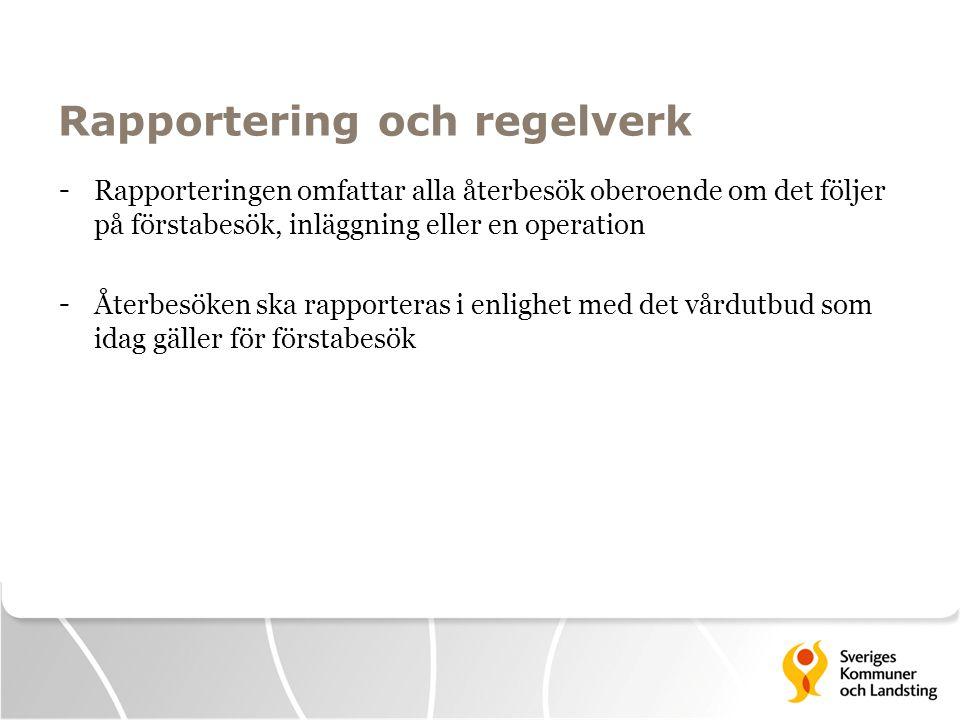 Rapportering och regelverk - Rapporteringen omfattar alla återbesök oberoende om det följer på förstabesök, inläggning eller en operation - Återbesöke