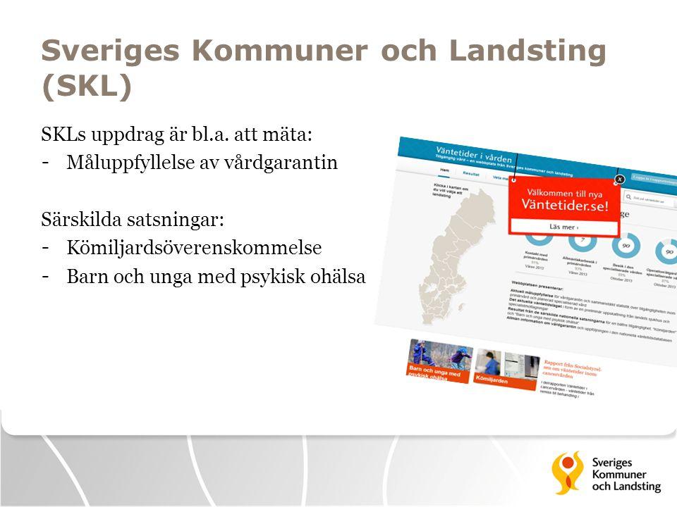 Sveriges Kommuner och Landsting (SKL) SKLs uppdrag är bl.a. att mäta: - Måluppfyllelse av vårdgarantin Särskilda satsningar: - Kömiljardsöverenskommel