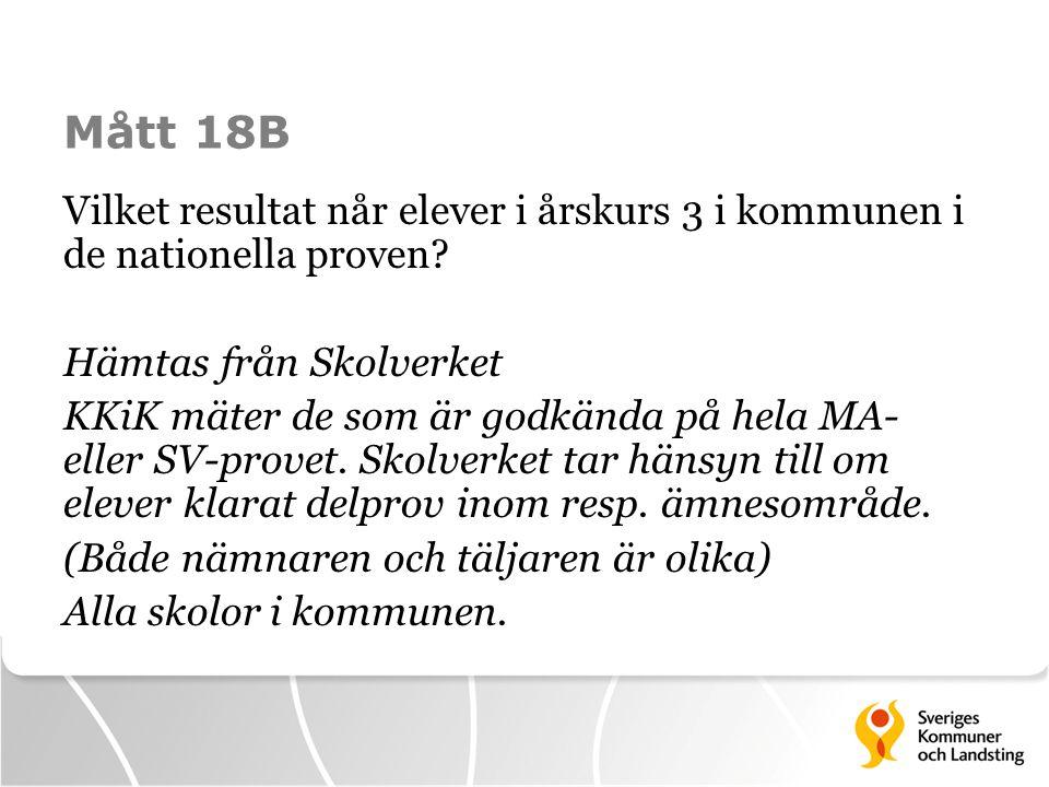 Mått 18B Vilket resultat når elever i årskurs 3 i kommunen i de nationella proven.