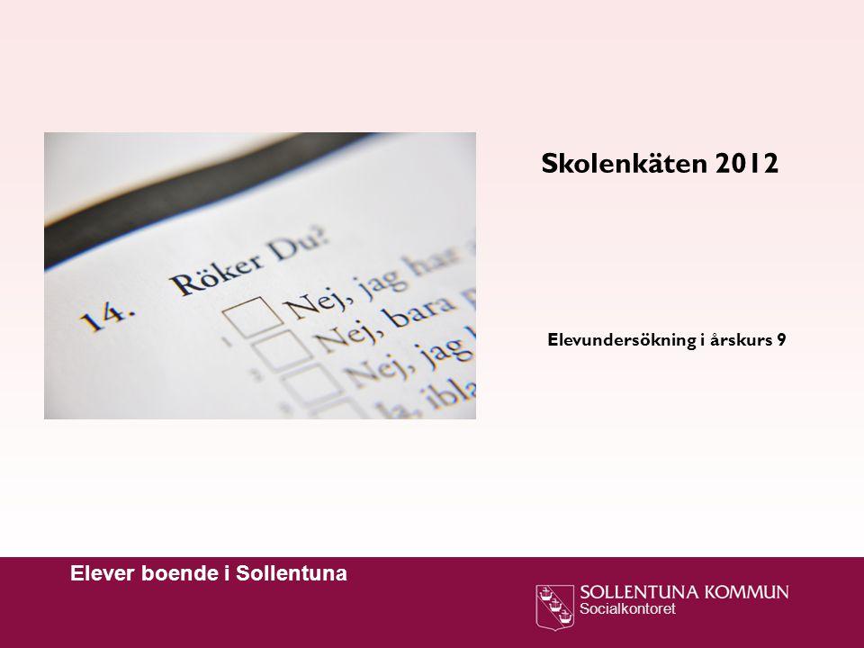 Socialkontoret Elever boende i Sollentuna Skolenkäten 2012 Elevundersökning i årskurs 9