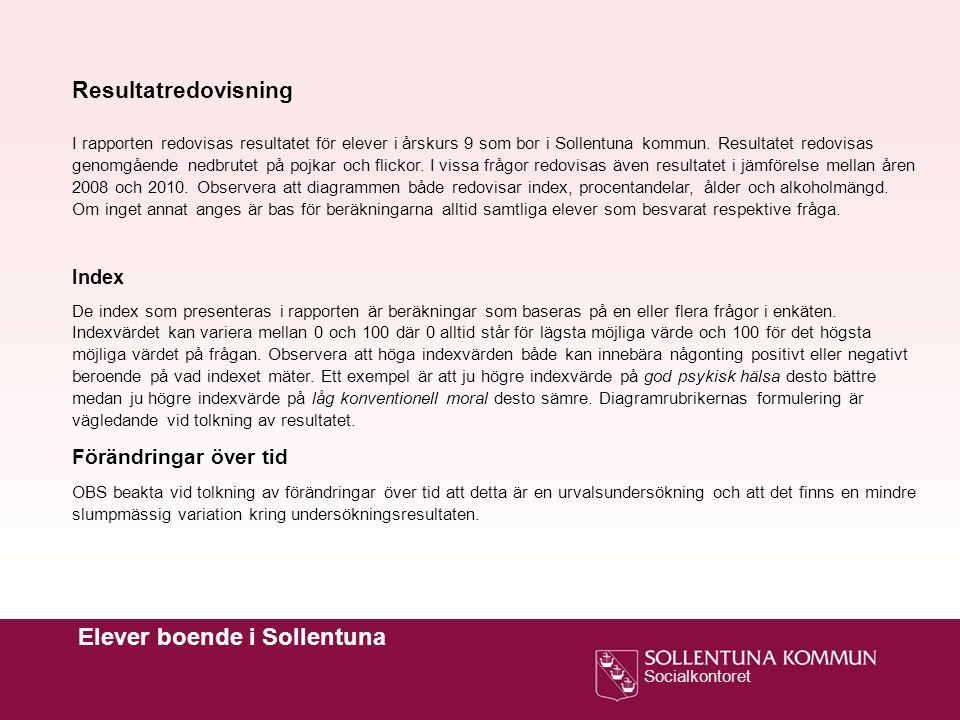 Socialkontoret Elever boende i Sollentuna Resultatredovisning I rapporten redovisas resultatet för elever i årskurs 9 som bor i Sollentuna kommun.
