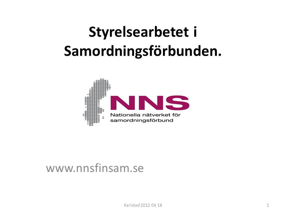 Styrelsearbetet i Samordningsförbunden. www.nnsfinsam.se Karlstad 2012 04 181