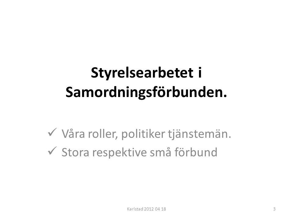 Styrelsearbetet i Samordningsförbunden.  Våra roller, politiker tjänstemän.  Stora respektive små förbund Karlstad 2012 04 183