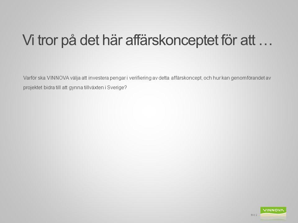 Vi tror på det här affärskonceptet för att … Varför ska VINNOVA välja att investera pengar i verifiering av detta affärskoncept, och hur kan genomförandet av projektet bidra till att gynna tillväxten i Sverige.