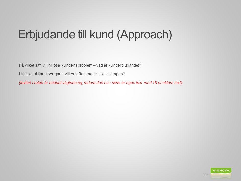 Erbjudande till kund (Approach) På vilket sätt vill ni lösa kundens problem – vad är kunderbjudandet.
