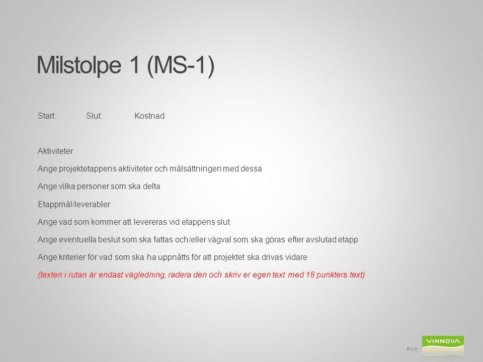 Milstolpe 1 (MS-1) Start:Slut:Kostnad: Aktiviteter Ange projektetappens aktiviteter och målsättningen med dessa Ange vilka personer som ska delta Etap