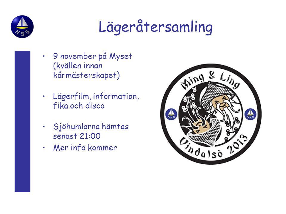 Lägeråtersamling •9 november på Myset (kvällen innan kårmästerskapet) •Lägerfilm, information, fika och disco •Sjöhumlorna hämtas senast 21:00 •Mer info kommer