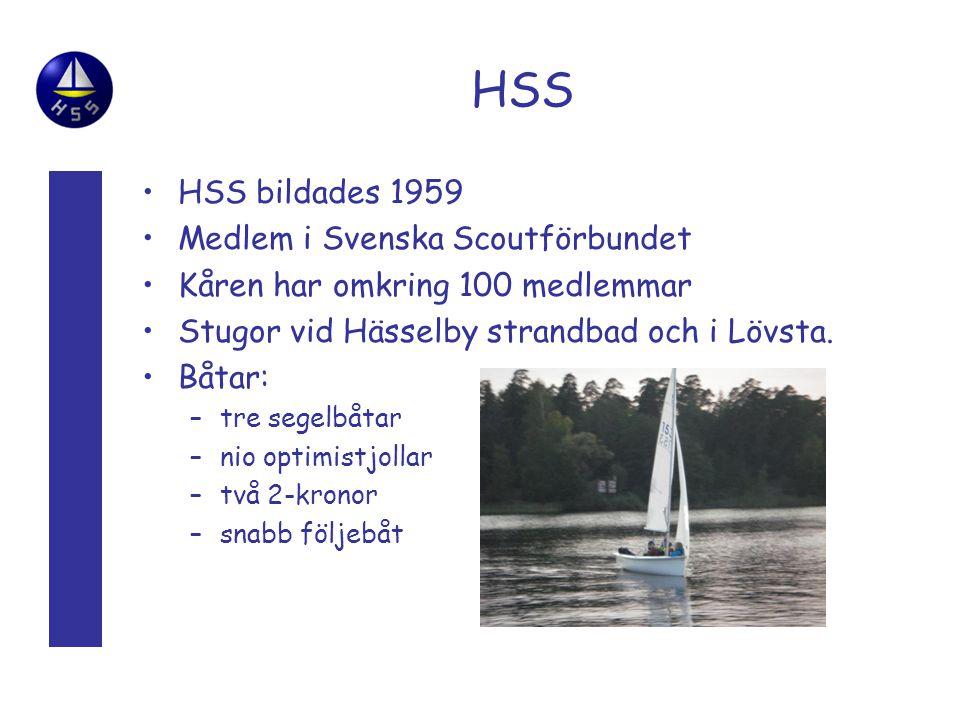 HSS •HSS bildades 1959 •Medlem i Svenska Scoutförbundet •Kåren har omkring 100 medlemmar •Stugor vid Hässelby strandbad och i Lövsta.