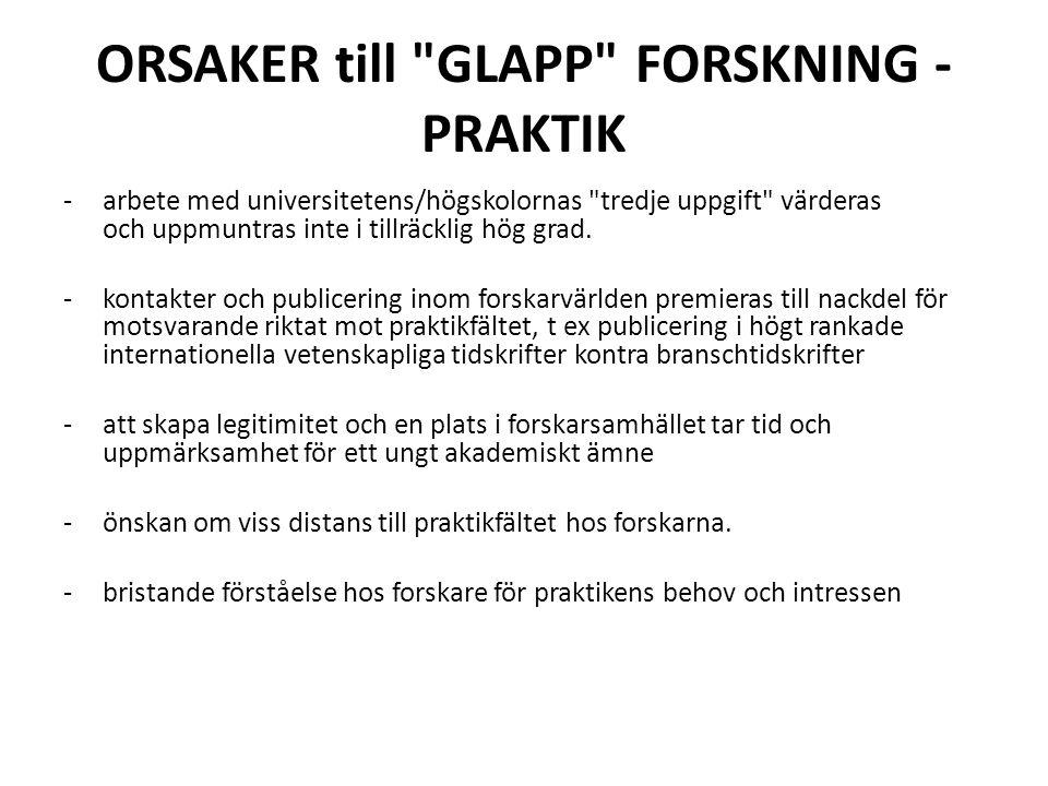 ORSAKER till GLAPP FORSKNING - PRAKTIK -arbete med universitetens/högskolornas tredje uppgift värderas och uppmuntras inte i tillräcklig hög grad.