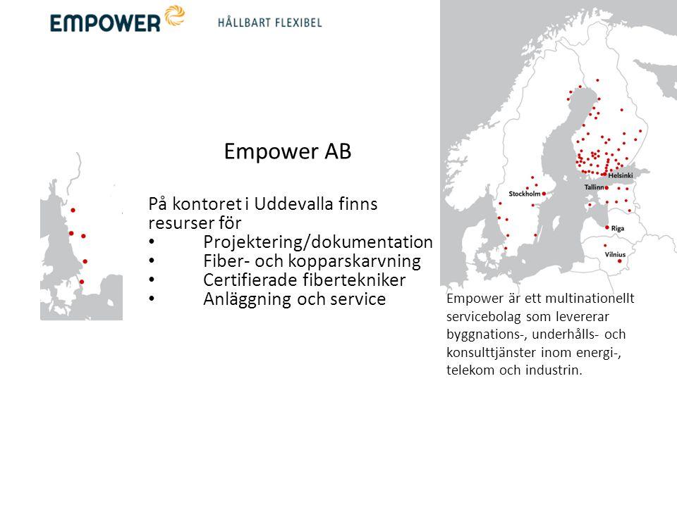 Empower AB På kontoret i Uddevalla finns resurser för • Projektering/dokumentation • Fiber- och kopparskarvning • Certifierade fibertekniker • Anläggn