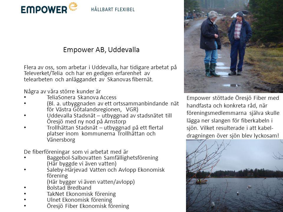 Empower AB, Uddevalla Flera av oss, som arbetar i Uddevalla, har tidigare arbetat på Televerket/Telia och har en gedigen erfarenhet av telearbeten och