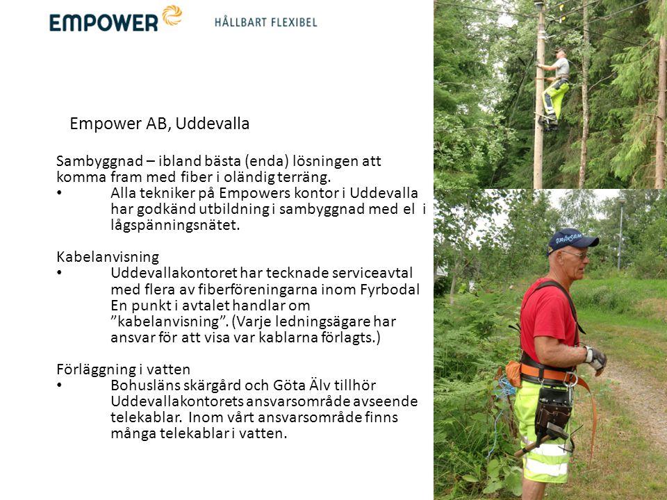 Empower AB, Uddevalla Sambyggnad – ibland bästa (enda) lösningen att komma fram med fiber i oländig terräng. • Alla tekniker på Empowers kontor i Udde
