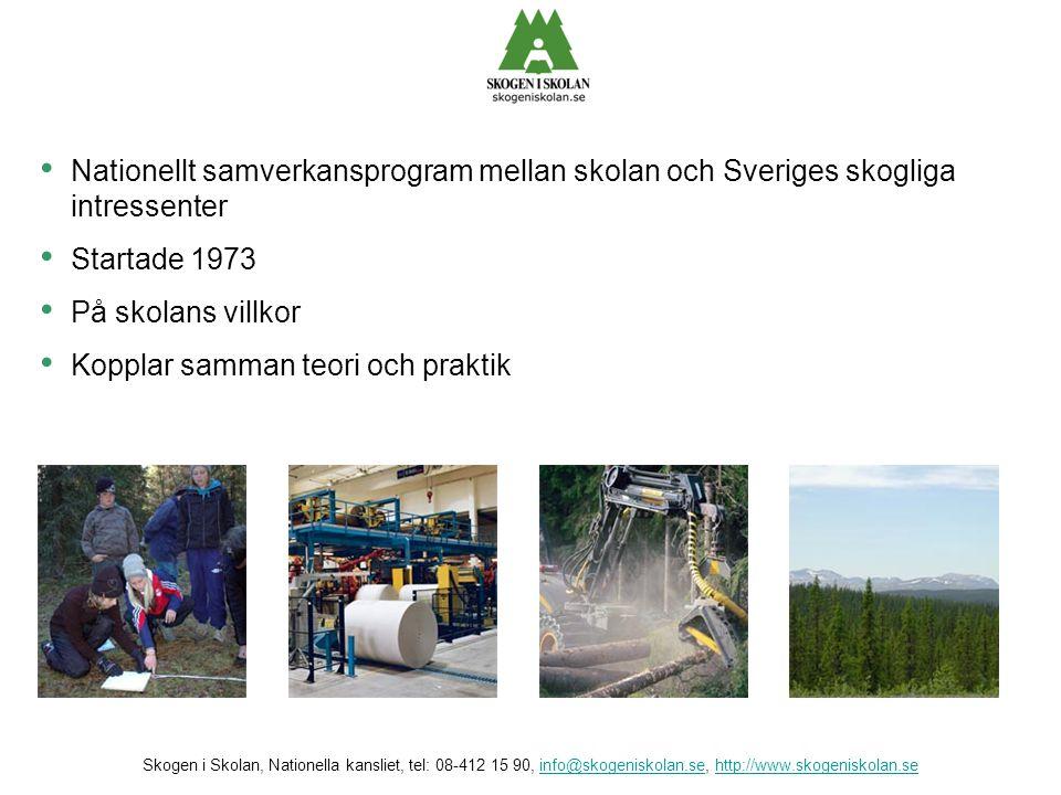 • Vi vill öka kunskaperna om, och intresset för, skogen och alla dess värden • Vi arbetar för ökad förståelse för Sveriges viktigaste näring • Vi erbjuder skolan möjligheter till verklighetsstudier av skogen och skogsindustrin Skogen i Skolan, Nationella kansliet, tel: 08-412 15 90, info@skogeniskolan.se, http://www.skogeniskolan.seinfo@skogeniskolan.sehttp://www.skogeniskolan.se