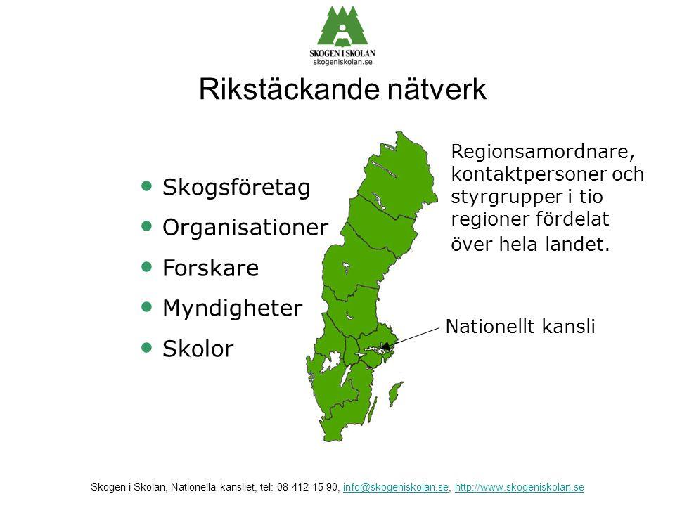 Nationellt kansli • Skogsföretag • Organisationer • Forskare • Myndigheter • Skolor Regionsamordnare, kontaktpersoner och styrgrupper i tio regioner f