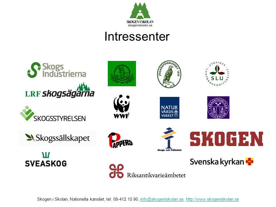 Intressenter Skogen i Skolan, Nationella kansliet, tel: 08-412 15 90, info@skogeniskolan.se, http://www.skogeniskolan.seinfo@skogeniskolan.sehttp://ww