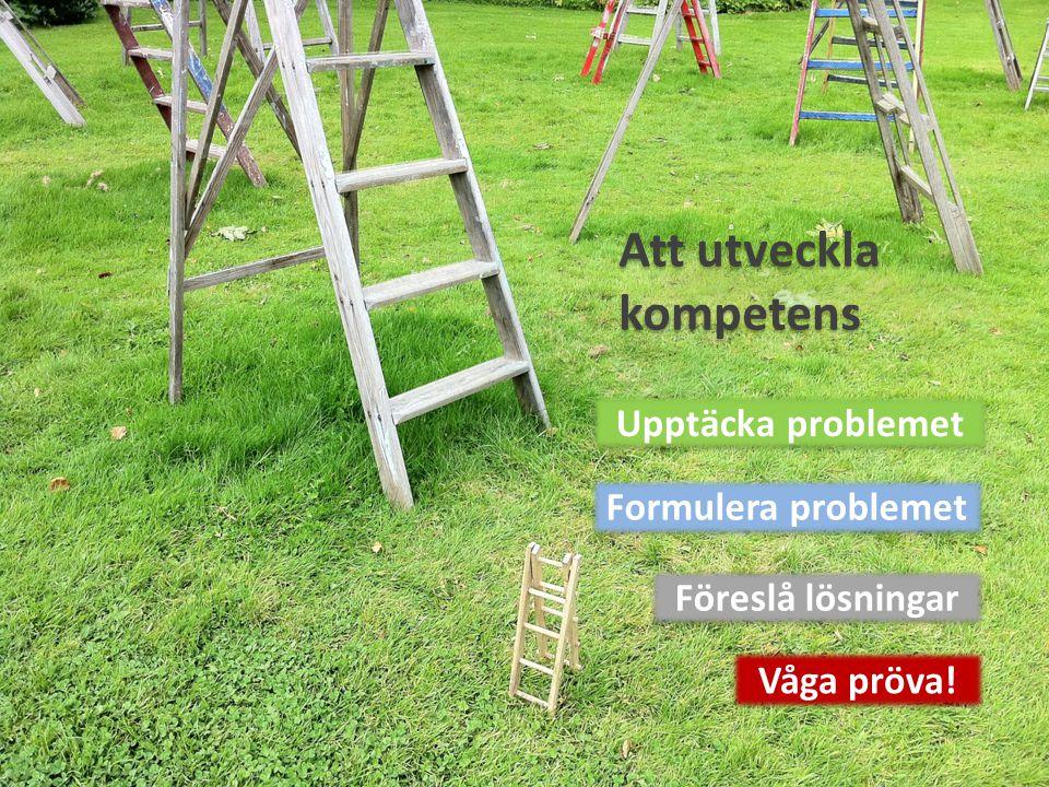 Att utveckla kompetens Upptäcka problemet Formulera problemet Föreslå lösningar Våga pröva!