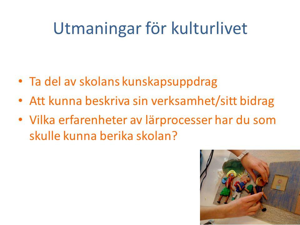 Utmaningar för kulturlivet • Ta del av skolans kunskapsuppdrag • Att kunna beskriva sin verksamhet/sitt bidrag • Vilka erfarenheter av lärprocesser ha