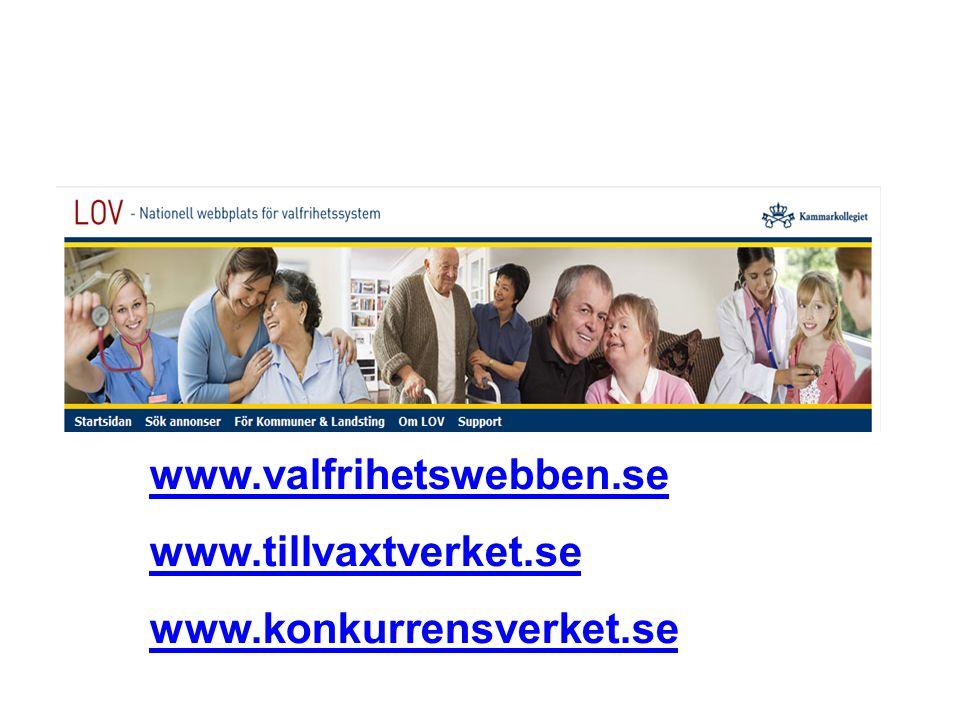 www.valfrihetswebben.se www.tillvaxtverket.se www.konkurrensverket.se