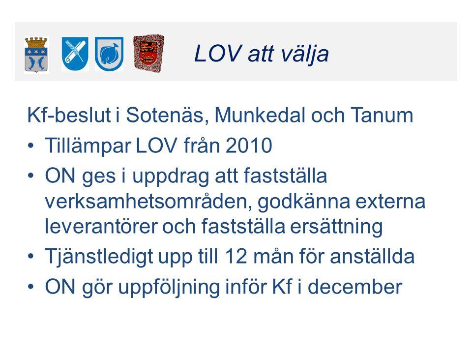 Klicka här för att ändra format LOV att välja Klicka här för att ändra format LOV att välja Kf-beslut i Sotenäs, Munkedal och Tanum •Tillämpar LOV frå