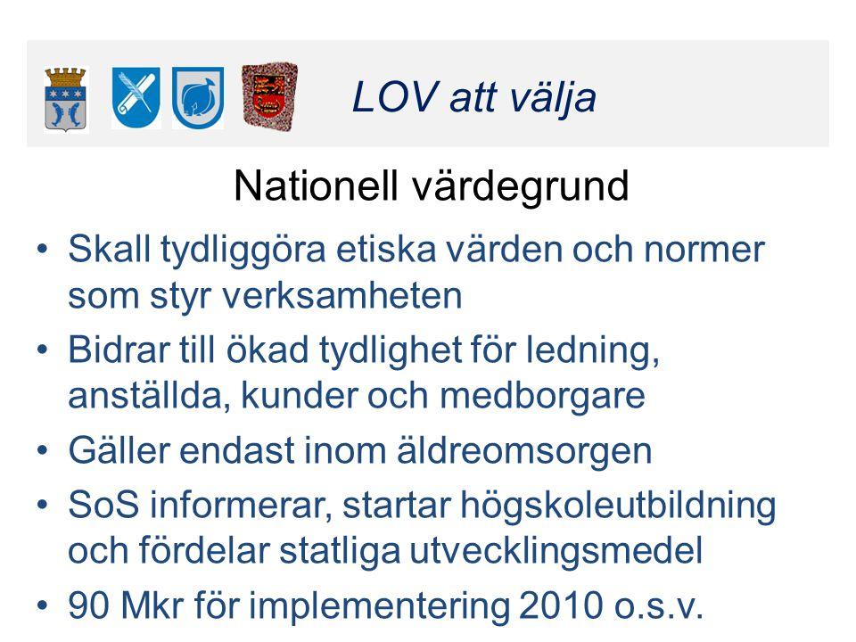 Klicka här för att ändra format LOV att välja Klicka här för att ändra format LOV att välja Nationell värdegrund •Skall tydliggöra etiska värden och n