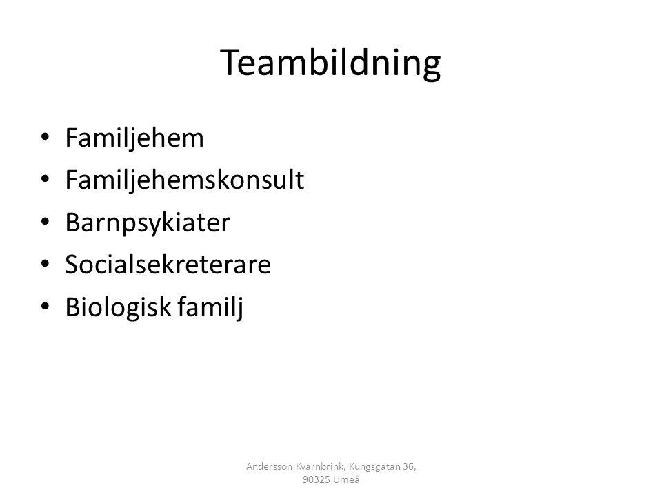 Teambildning • Familjehem • Familjehemskonsult • Barnpsykiater • Socialsekreterare • Biologisk familj Andersson Kvarnbrink, Kungsgatan 36, 90325 Umeå