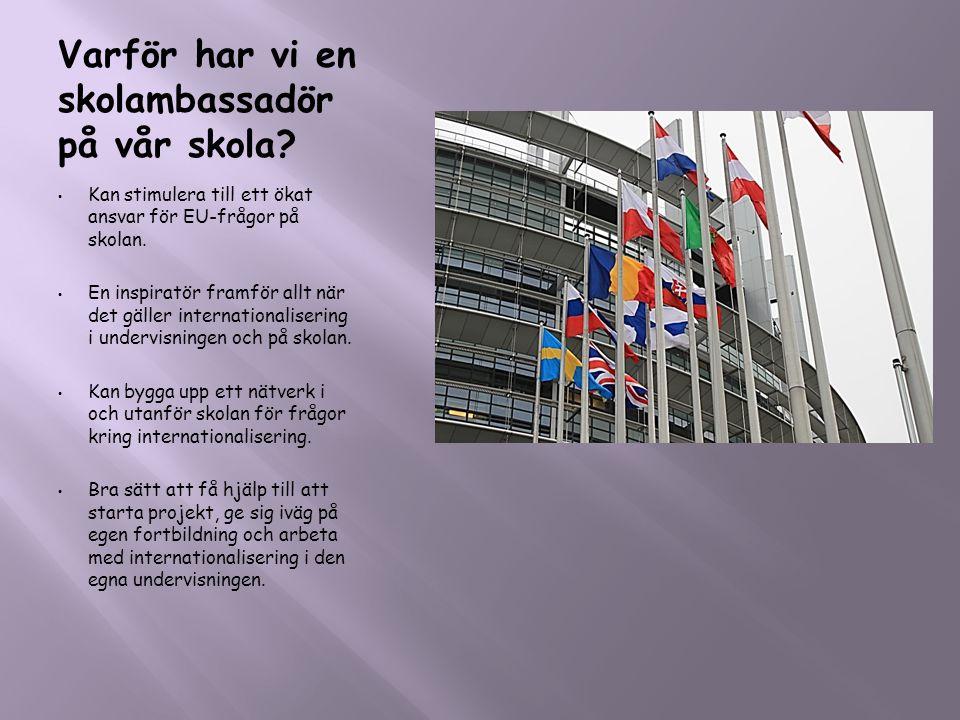 Varför har vi en skolambassadör på vår skola? • Kan stimulera till ett ökat ansvar för EU-frågor på skolan. • En inspiratör framför allt när det gälle