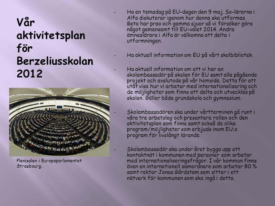 Vår aktivitetsplan för Berzeliusskolan 2012 Plenisalen i Europaparlamentet Strasbourg. • Ha en temadag på EU-dagen den 9 maj. So-lärarna i Alfa diskut