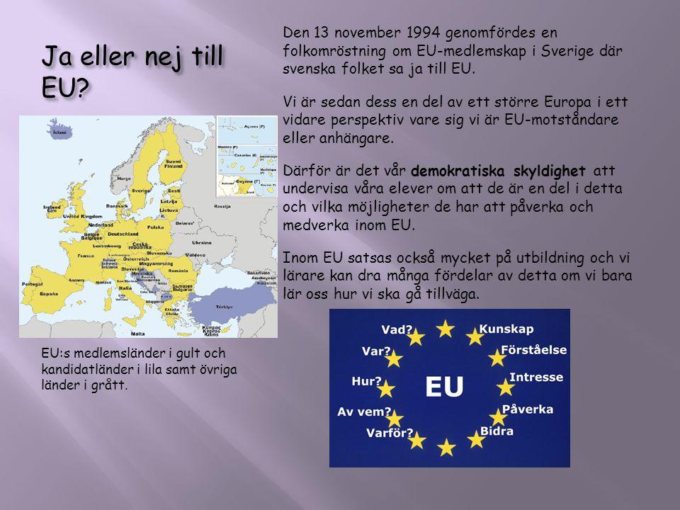 Ja eller nej till EU? EU:s medlemsländer i gult och kandidatländer i lila samt övriga länder i grått. Den 13 november 1994 genomfördes en folkomröstni
