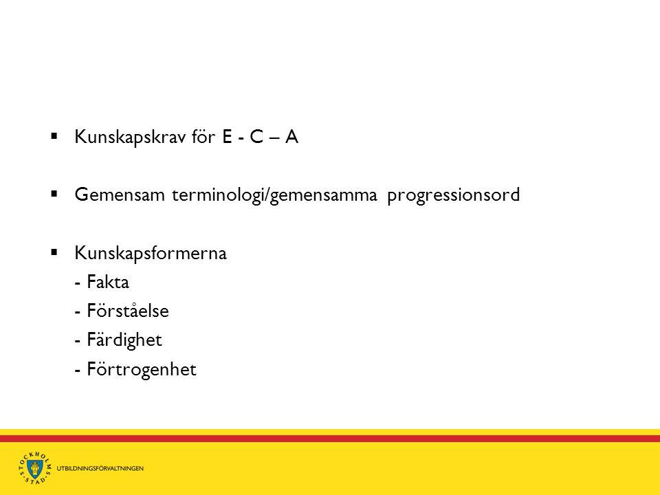  Kunskapskrav för E - C – A  Gemensam terminologi/gemensamma progressionsord  Kunskapsformerna - Fakta - Förståelse - Färdighet - Förtrogenhet