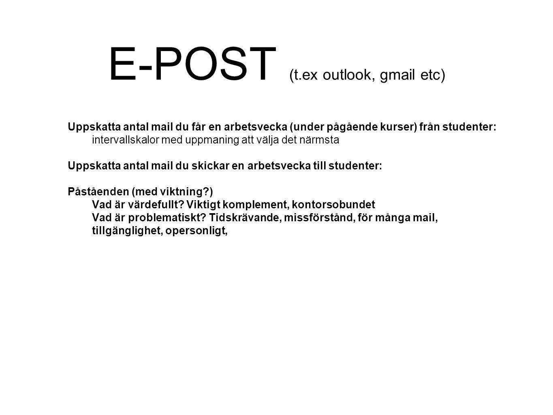 E-POST (t.ex outlook, gmail etc) Uppskatta antal mail du får en arbetsvecka (under pågående kurser) från studenter: intervallskalor med uppmaning att välja det närmsta Uppskatta antal mail du skickar en arbetsvecka till studenter: Påståenden (med viktning?) Vad är värdefullt.