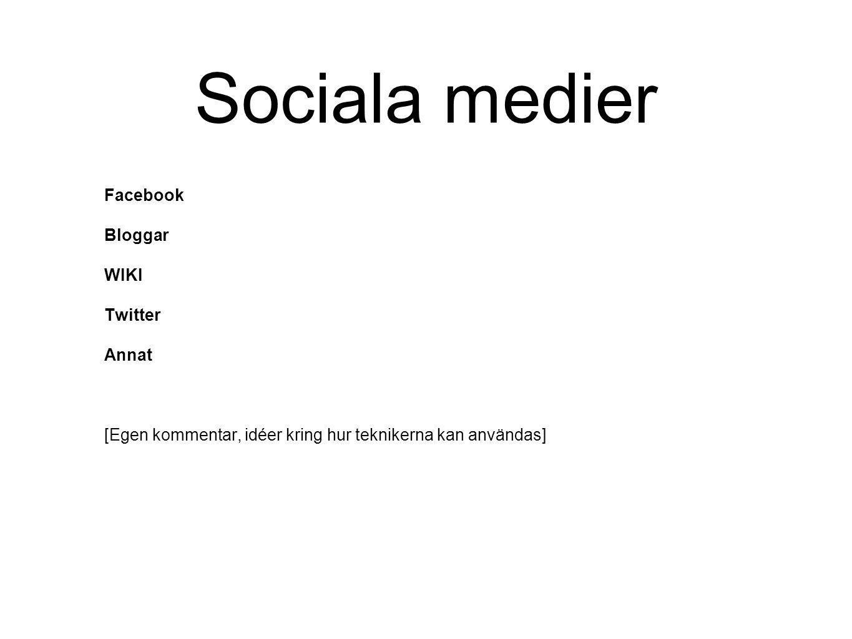 Sociala medier Facebook Bloggar WIKI Twitter Annat [Egen kommentar, idéer kring hur teknikerna kan användas]