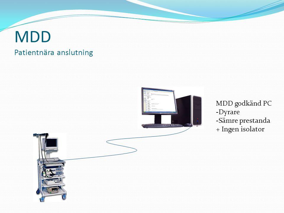 MDD Patientnära anslutning MDD godkänd PC -Dyrare -Sämre prestanda + Ingen isolator
