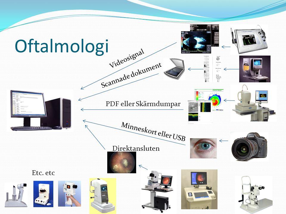 Etc. etc Videosignal Scannade dokument PDF eller Skärmdumpar Minneskort eller USB Direktansluten Oftalmologi
