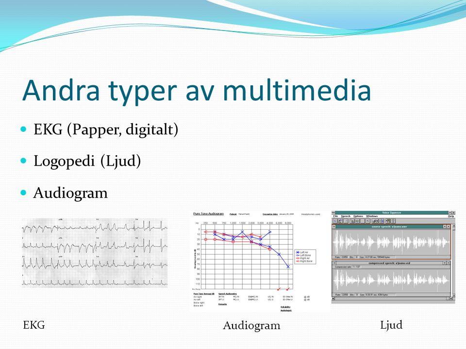  EKG (Papper, digitalt)  Logopedi (Ljud)  Audiogram EKG Andra typer av multimedia Audiogram Ljud