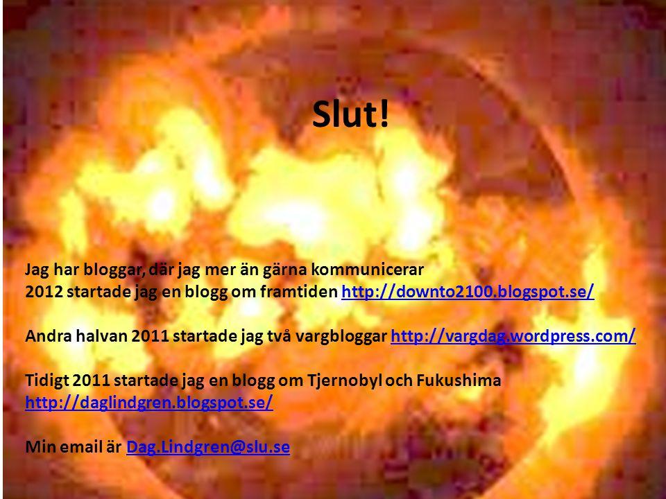 Slut! Jag har bloggar, där jag mer än gärna kommunicerar 2012 startade jag en blogg om framtiden http://downto2100.blogspot.se/http://downto2100.blogs