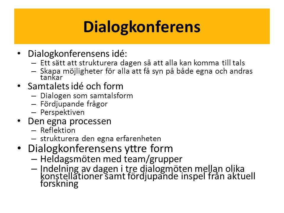 Dialogkonferens • Dialogkonferensens idé: – Ett sätt att strukturera dagen så att alla kan komma till tals – Skapa möjligheter för alla att få syn på både egna och andras tankar • Samtalets idé och form – Dialogen som samtalsform – Fördjupande frågor – Perspektiven • Den egna processen – Reflektion – strukturera den egna erfarenheten • Dialogkonferensens yttre form – Heldagsmöten med team/grupper – Indelning av dagen i tre dialogmöten mellan olika konstellationer samt fördjupande inspel från aktuell forskning