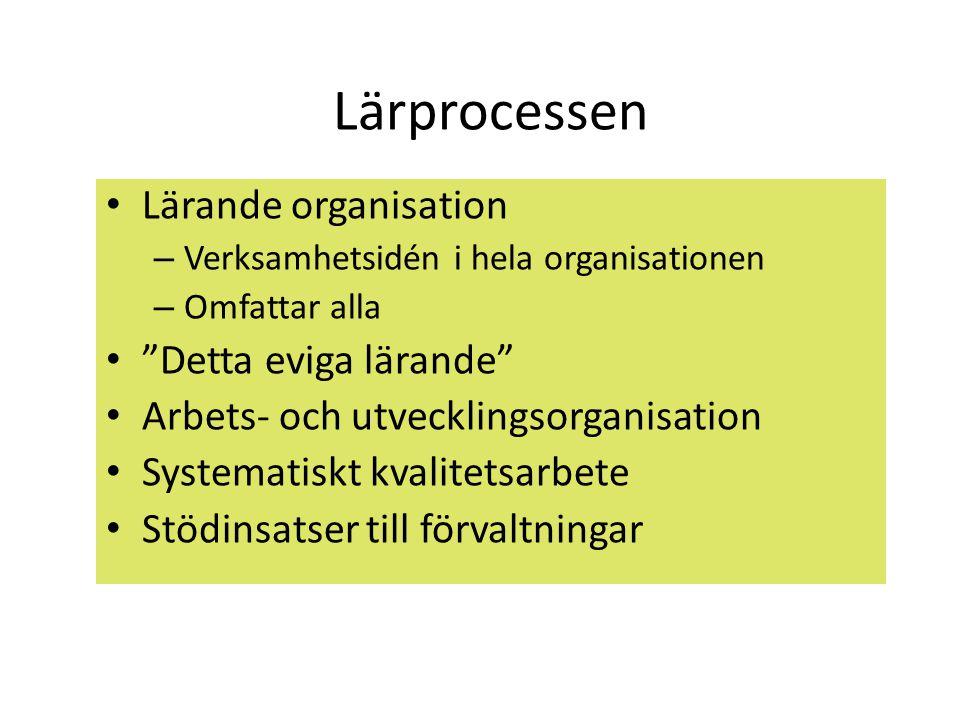 """Lärprocessen • Lärande organisation – Verksamhetsidén i hela organisationen – Omfattar alla • """"Detta eviga lärande"""" • Arbets- och utvecklingsorganisat"""